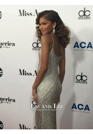 Zendaya Silver Sequin Evening Prom Celebrity Dress 2016 Miss America