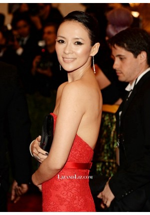 Zhang Ziyi Red Strapless Mermaid Lace Celebrity Formal Dress Met Gala 2013