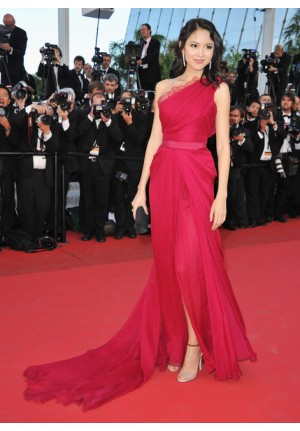 Zhang Zilin Red One-shoulder Lace Chiffon Prom Dress Cannes 2011