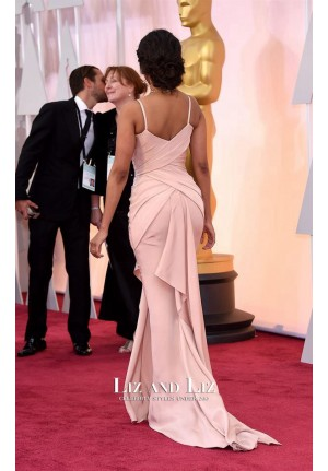 Zoe Saldana Pink Satin Celebrity Gown Oscars 2015 Red Carpet Dress