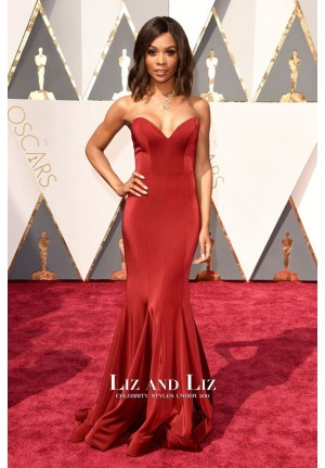Zuri Hall Red Strapless Mermaid Satin Prom Dress Oscars 2016 Red Carpet