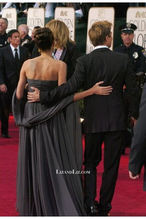 Angelina Jolie Grey Strapless Chiffon Formal Prom Celebrity Dress Golden Globes 2007