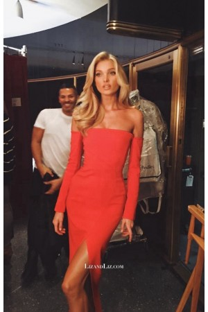 Elsa Hosk Red Off-the-shoulder Cocktail Party Celebrity Dress with Slit