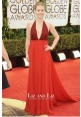 Amy Adams Burgundy Red Halter V-neck Red Carpet Dress Golden Globes 2014