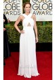 Emily Blunt White Chiffon Prom Dress Golden Globes 2015 Red Carpet
