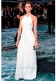 Emma Watson White Halter Chiffon Prom Dress 'Noah' London Premiere