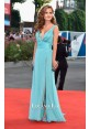 Giulia Electra Goretti Blue V-neck Chiffon Dress Venice Film Festival 2014