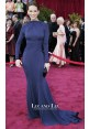 Hilary Swank Navy Blue Long-sleeve Backless Prom Dress Oscars 2005