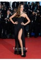 Izabel Goulart Black Strapless Chiffon Celebrity Dress Cannes 2013 Red Carpet