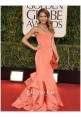 Jessica Alba Coral Strapless Mermaid Red Carpet Dresses Golden Globes 2013