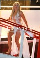 Khloe Kardashian White Lace Chiffon Sheer Maxi Celebrity Dresses