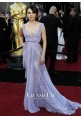 Mila Kunis Lavender Lace Chiffon Celebrity Dresses 2011 Oscars Red Carpet
