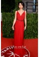 Selena Gomez Red V-neck Chiffon Prom Gown Oscars 2011 Red Carpet Dresses
