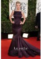 Taylor Swift Purple Mermaid Satin Red Carpet Dress 2013 Golden Globe Awards