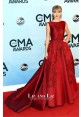 Taylor Swift Red Embroidered Satin Gown 2013 CMA Awards Red Carpet Dress