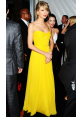 Taylor Swift Yellow Strapless Chiffon Dress Golden Globes 2015 Red Carpet