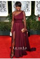 Viola Davis Burgundy One-shoulder Prom Dress Golden Globes 2012