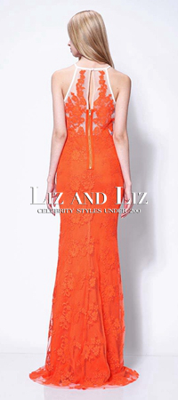 Giuliana Rancic Orange Lace Dress