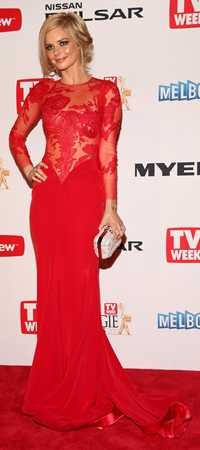 samara weaving red lace dress